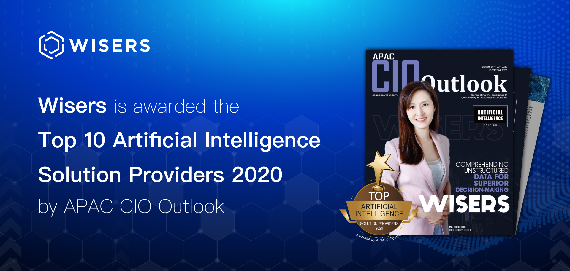 Wisers Information is Crowned One of APAC CIO Outlook's Top 10 Artificial Intelligence Solution Providers in 2020